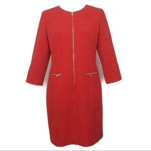 Ann Taylor Women's Dress Size 6p Red Gold Zipper